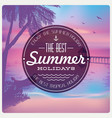vintage card with a beautiful sunset on a beach vector image vector image