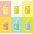 Flat colorful set of mason jar vector image