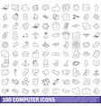 100 computer icons set outline style vector image vector image