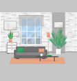 apartment with window and furniture vector image vector image