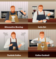 barista and coffee concept icons set vector image vector image
