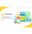 book your flight now website landing page vector image vector image