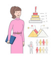 businesslady woman with clipboard in hands charts vector image vector image