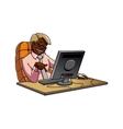 Cartoon black businessman in office vector image vector image