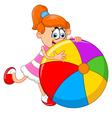 Cartoon little girl holding ball vector image