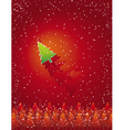 christmas card with forest of tree vector image vector image