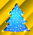 Christmas tree with golden border snowflakes and vector image