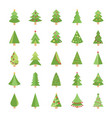 christmas trees flat icons vector image vector image