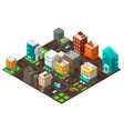 city town district street isometric intersection vector image vector image