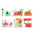 collection people shopping for kitchen and vector image vector image
