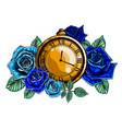 composition with flower and pocket watch on chain vector image vector image