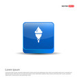 cone ice cream icon - 3d blue button vector image