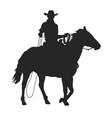 cowboy with lasso riding a horse vector image vector image