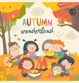 cute friends sitting around bonfire in autumnal vector image vector image