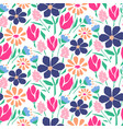 cutout style flowers seamless pattern vector image