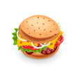 fast food burger icon isolated on white vector image vector image