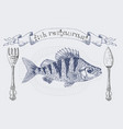 fish restaurant banner with crucian carp vector image vector image