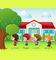 four kids going to school vector image