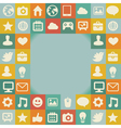 frame with social media icons vector image vector image