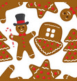 gingerbread seamless pattern brown cookies vector image