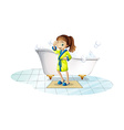 Girl and bathtub vector image