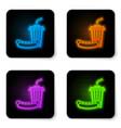 glowing neon soda and hotdog icon isolated on vector image