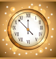golden clock rounded with glitter sparkle gold vector image vector image