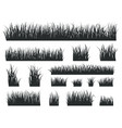 grass silhouettes black tufts forest lawns vector image vector image