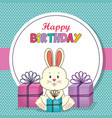 happy birthday card with cute rabbit vector image