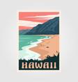 hawaii beach vintage poster art design adventure vector image