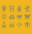 indian badges and native american labels set vector image