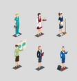 isometric profession female characters set vector image vector image