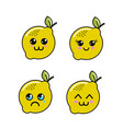 kawaii lemon diferents faces icon vector image vector image