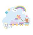 kids zone train alphabet blocks teddy bear vector image