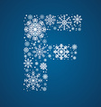 Letter F font frosty snowflakes vector image