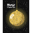 Merry Christmas Gold Christmas tree toy ball and vector image