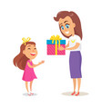 mom greets daughter with winter holidays vector image vector image