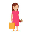 mother with bag and toy llustration shopping time vector image