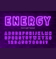 neon light alphabet extra glowing font design vector image vector image