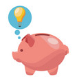 piggy with big idea in bubble vector image vector image