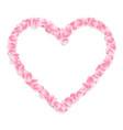 pink sakura petals heart isolated eps 10 vector image