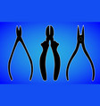 pliers nippers silhouette isolated on blue vector image