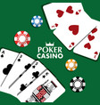poker casino cards chips bet theme design vector image
