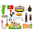 portugal tourism icons set vector image
