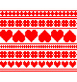 seamless knitted valentine pattern vector image vector image