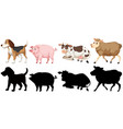 set animal character vector image vector image