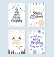 set christmas cards with wishes for a happy vector image