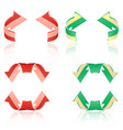 set of frosted arrows red green vector image vector image