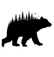 silhouette bear with forest vector image
