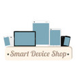 smart device wood board with smart phone vector image vector image
